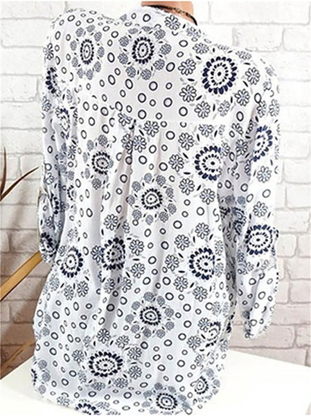 Casual V Neck Long Sleeve Printed Colour Blouse