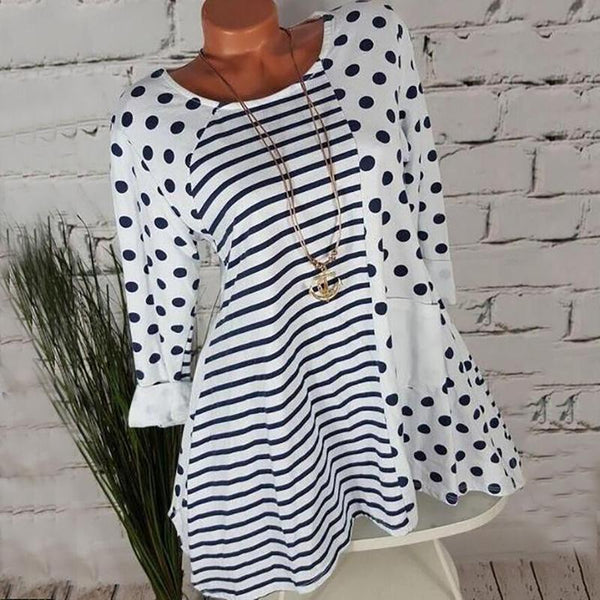 Casual Round Neck Splicing Printed Colour Long Sleeve Blouse