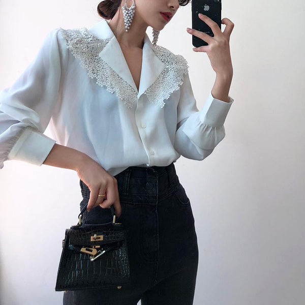 Female Casual Turndown Collar Splicing Lace Blouse