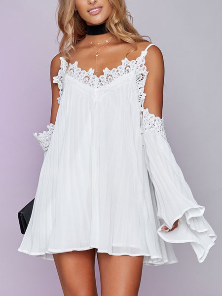 Sexy Lace Hollow Out See-Through Off-Shoulder Bare Back Dress