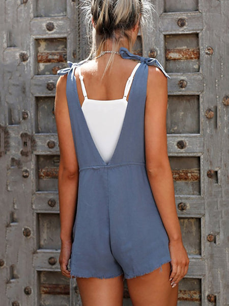 Casual Belted Off-Shoulder Bare Back Sleeveless Romper