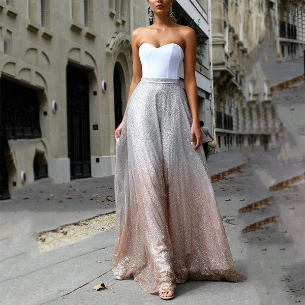 Sexy Sleeveless Off-Shoulder Bare Back Splicing Dress