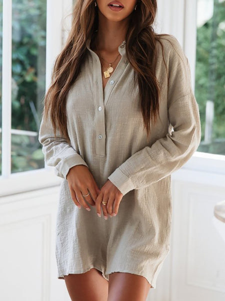 Casual Linen Turndown Collar Single-Breasted Long Sleeve Romper