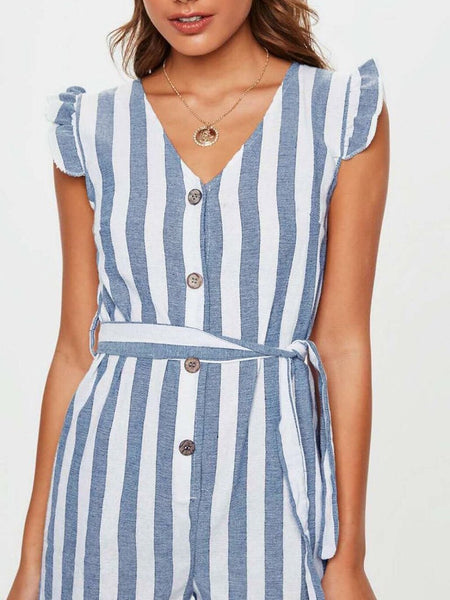 Commuting Stripe V Neck Ruffled Belted Single-Breasted Romper