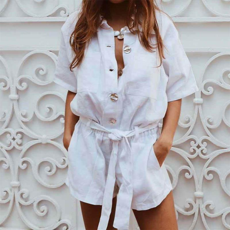 Fashion Turndown Collar Pure Colour Belted Single-Breasted Romper