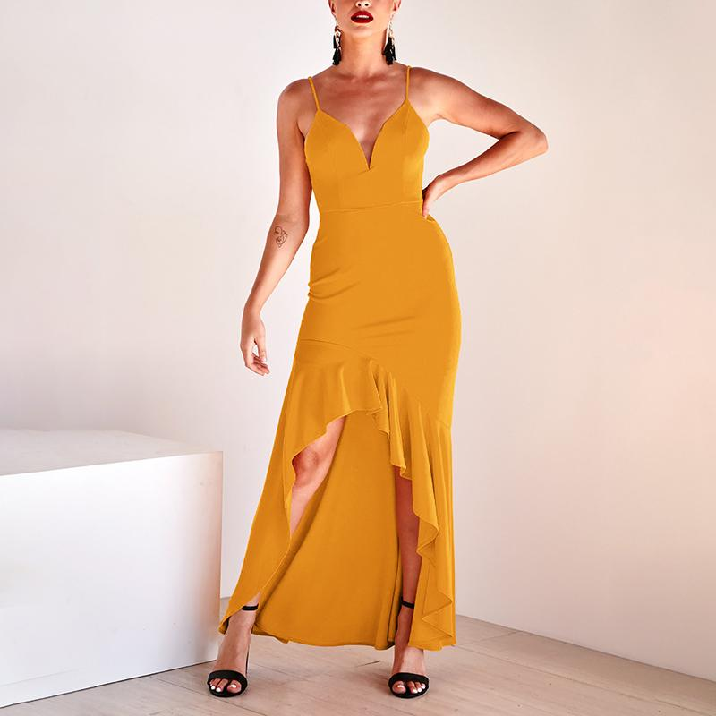 Commuting Irregular Sleeveless Off-Shoulder Bare Back Ruffled Dress