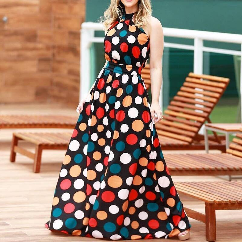 A Long Dress With Colored Dots Around Maxi Dress