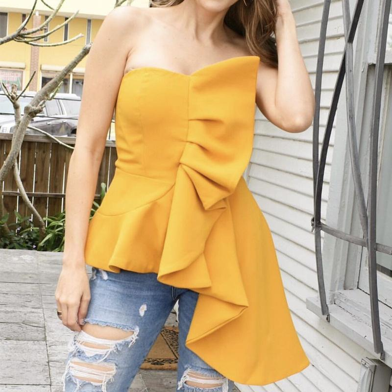 Sexy Sleeveless Ruffled Pleated Off-Shoulder Bare Back Blouse