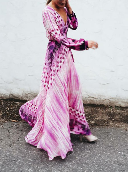 Bohemian Printed Colour Chiffon V Neck Belted Long Sleeve Dress