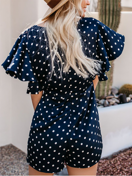 Commuting V Neck Ruffled Polka Dot Splicing Romper