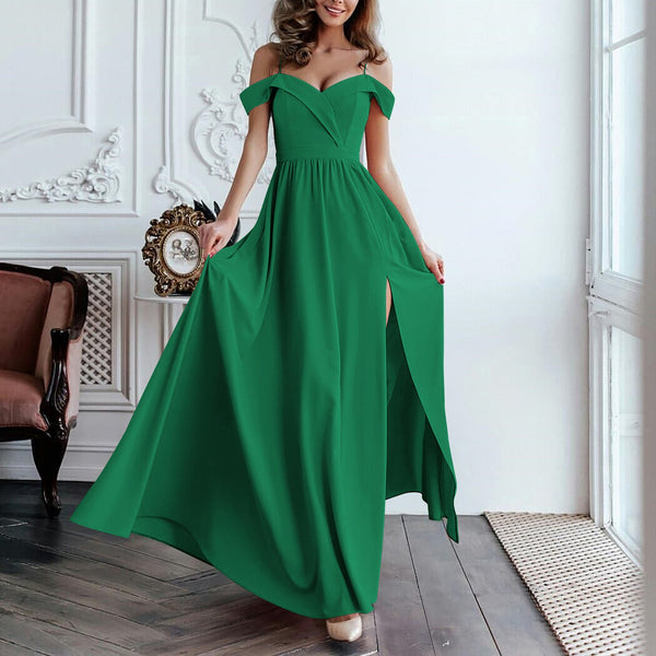 Commuting Sleeveless Bare Back Off-Shoulder Pleated Slit Splicing Dress