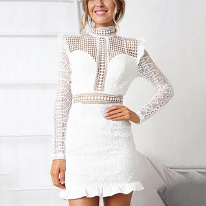 Commuting Lace Ruffled See-Through Hollow Out Long Sleeve Dress