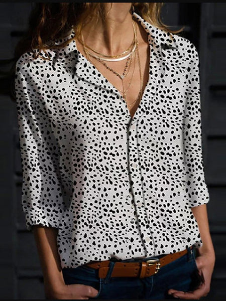 Commuting V Neck Single-Breasted Polka Dot Long Sleeve Blouse