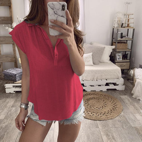 Casual Turndown Collar Single-Breasted Pure Colour T-Shirt