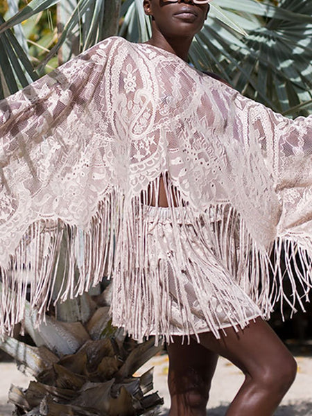 Bohemian Hollow Out Batwing Sleeve See-Through Tassel Beach Suit