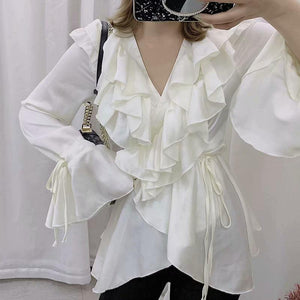 Commuting Chiffon V Neck Ruffled Bell Sleeve Belted Blouse