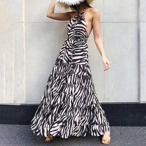 Sexy Belted Splicing Ruffled Bare Back Printed Colour Dress