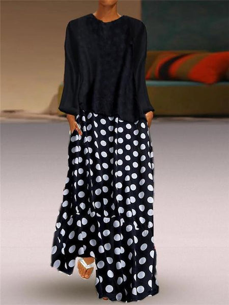 Fashion Polka Dot Round Neck Long Sleeve Maxi Dresses
