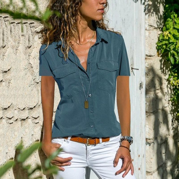 Commuting Turndown Collar Single-Breasted Short Sleeve Patch Pocket Blouse