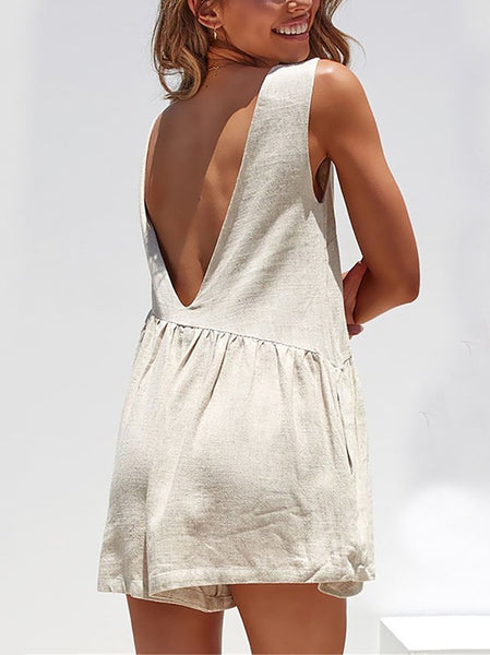Fashion Round Neck Pleated Splicing Sleeveless Off-Shoulder Romper