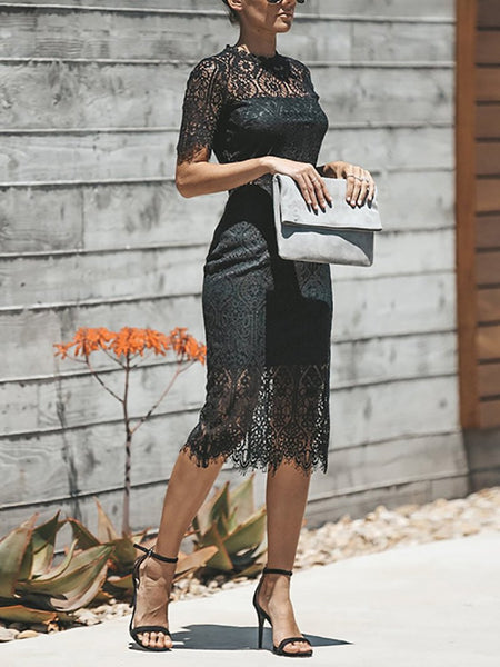 Commuting Lace See-Through Hollow Out Splicing Short Sleeve Dress
