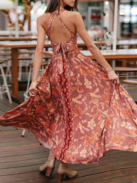 Bohemian Sleeveless Printed Colour Bare Back Off-Shoulder Splicing Dress