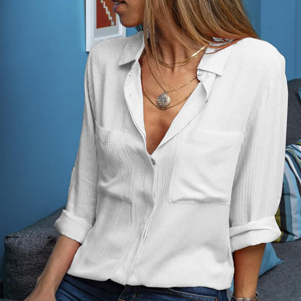 Casual Patch Pocket Turndown Collar Long Sleeve Pure Colour Blouse