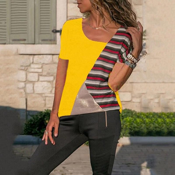 Casual Short Sleeve Splicing Contrast Color Stripe T-Shirt