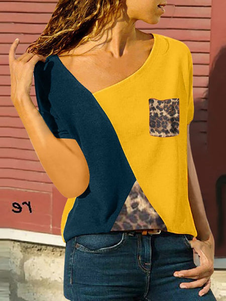Casual Short Sleeve Contrast Color Splicing Leopard Print T-Shirt