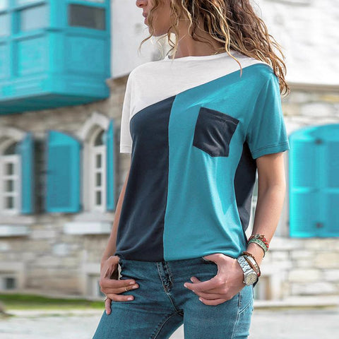 Casual Round Neck Short Sleeve Contrast Color Patch Pocket T-Shirt