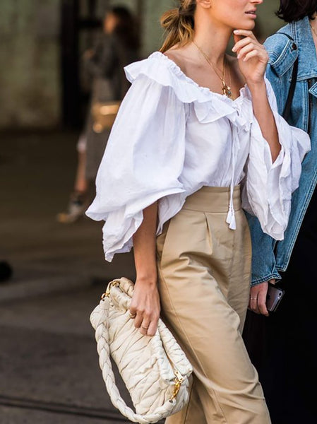 Commuting Bubble Sleeves Ruffled Tassel Belted Pure Colour Blouse