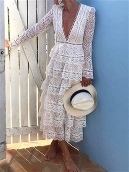 Sexy Deep V Hollow Lace Cake Maxi Dresses
