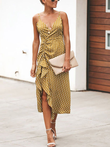 Commuting V Neck Ruffled Pleated Bare Back Off-Shoulder Dress
