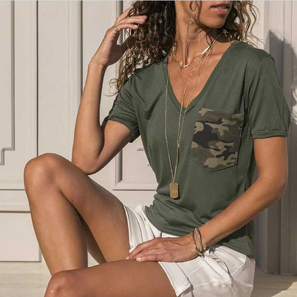 Casual V Neck Short Sleeve Patch Pocket Splicing Camouflage Pattern T-Shirt