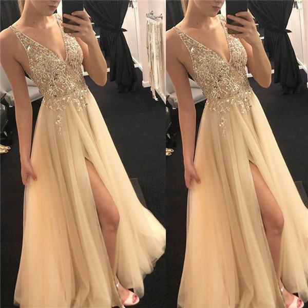 Sexy V Collar Sleeveless Evening Dresses