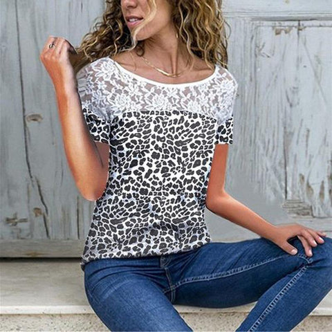 Sexy Round Neck Lace Splicing Leopard Print Short Sleeve T-Shirt