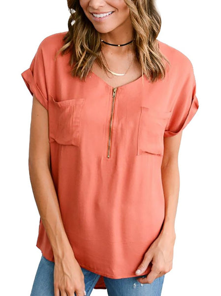 Commuting Metal Zipper Short Sleeve Patch Pocket Loose Blouse