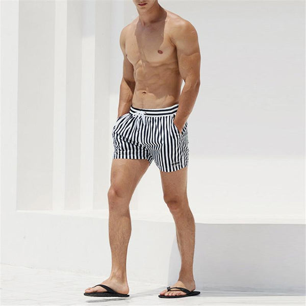 Summer Strip Printed Beach Loose Fast Drying Short Pants