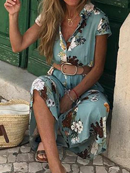 Bohemian Retro Ethnic Style Holiday Wind V-Neck Loose Maxi Dress