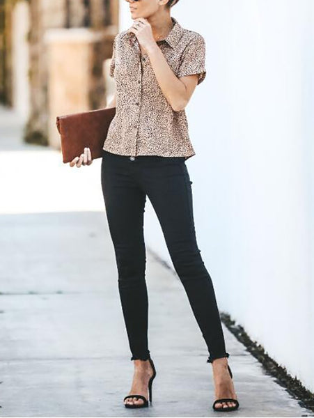 Commuting Turndown Collar Single-Breasted Leopard Print Blouse