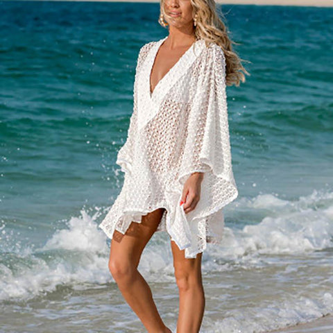Bohemian Lace V Neck Hollow Out Sun-Protective See-Through Beach Pullover
