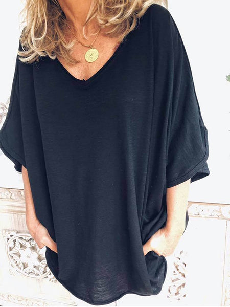 Casual V Neck Short Sleeve Pure Colour Loose Blouse