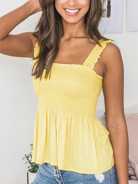 Sexy Sleeveless Off-Shoulder Bare Back Pleated Elastic Tops