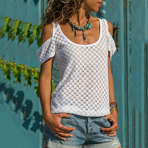 Casual Round Neck Off-Shoulder Short Sleeve T-Shirt