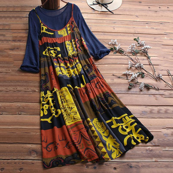 Casual Loose Retro Round Collar Long-Sleeved Dress