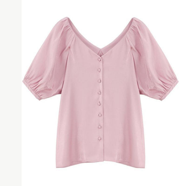 Casual V Neck Single-Breasted Pure Colour Bishop Sleeve Blouse