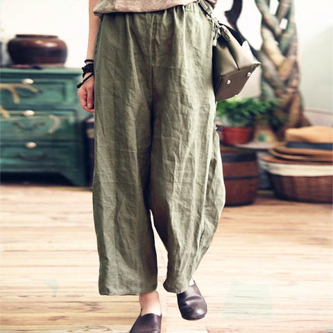 Women's Casual Loose Cotton And Linen Wide Leg Pants