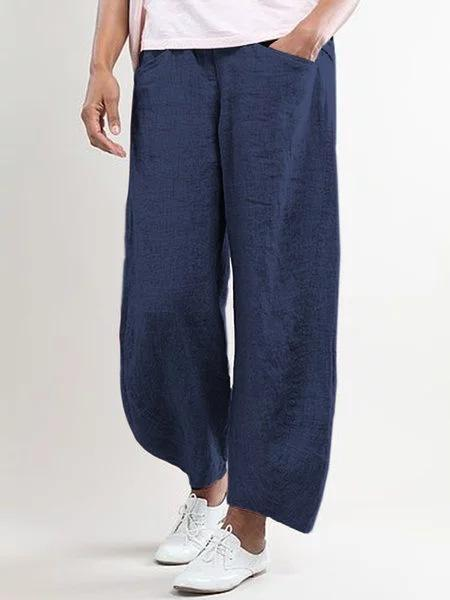 Solid Color Cotton And Linen Nine Points Casual Pants