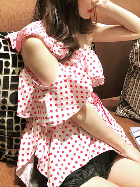 Fashion Irregular Sloping Shoulder Ruffled Polka Dot Belted Elastic Blouse