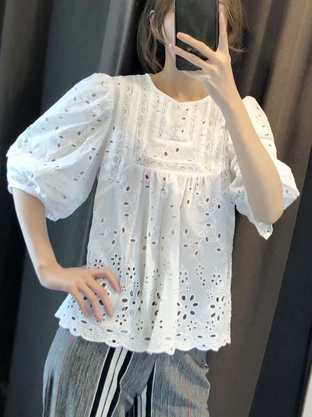 Fashion Round Neck Hollow Out Inwrought Pure Colour Tops
